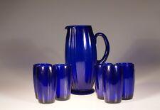 New Martinsville Glass Cobalt Blue #36 Oscar Water Set Jug & Tumblers c.1935