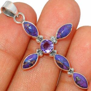 Cross - Copper Purple Turquoise & Amethyst   Silver Pendant Jewelry BP45314 XGB
