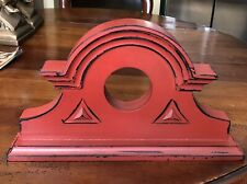 Red Painted Wood Architectural Pediment Farmhouse Cabin Loft Decor