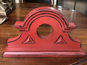 Red Painted Wood Architectural Pediment Farmhouse Cabin Loft Decor