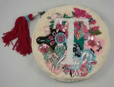 "Anna Harlow Russo Anthropologie Monogram ""T"" Tea Beaded Pouch Purse Make Up Bag"