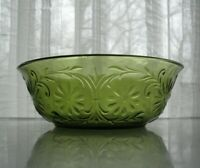 "Indiana Glass Green Daisy #620 Sandwich 7 1/2"" Berry Vegetable Fruit Bowl"
