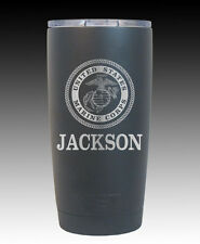 YETI  Rambler 20 oz cup engraved US Marines United States Custom Black usmc gift