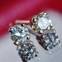 14k yellow gold stud earrings 0.25ct natural diamond vintage 0.5gr