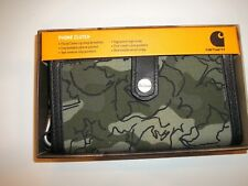 CARHARTT Ripstop & Leather Olive Floral CAMO Cell Phone Clutch Wristlet WALLET