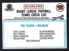 SCANLENS 1977 BALMAIN CHECK LIST UNMARKED
