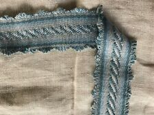 """2.6 yds blue cotton ribbon1.5"""" trim country cottage edging pillows crafts sewing"""