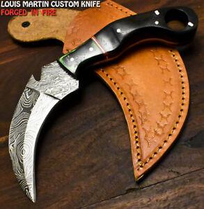 Louis Martin Rare Handmade Damascus Ram's Horn Talon Art Hunting Karambit Knife