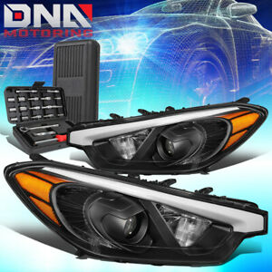 FOR 2014-2016 FORTE 5 KOUP BLACK AMBER SIGNAL PROJECTOR HEADLIGHT LAMPS+TOOLS