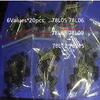 120PCS 78L05 78L06 78L08 78L09 78L12 78L15 6Values 20pcs Transistor package