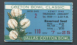 1959 Cotton Bowl Game ticket stub TCU Texas Christian Horned Frogs Air Force 0-0