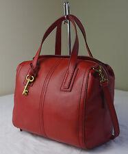 Fossil Crimson Red Emma Leather Satchel Crossbody