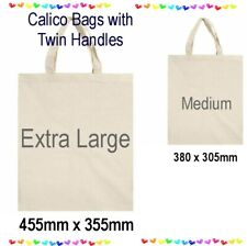BULK Calico Shopping Bags Library Bag Twin Handles Gym Tote Natural Unbleached