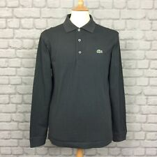LACOSTE MENS UK S FR 3 GREY LONG SLEEVED PIQUE POLO SHIRT TOP DESIGNER SUMMER