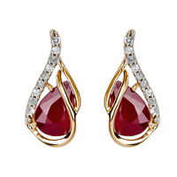 10k Yellow Gold Genuine Pear-Shape Ruby and Diamond Curved Halo Drop Earrings
