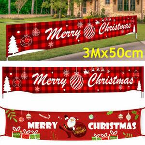 3M Merry Christmas Banner Santa Claus Decorations Outdoor Xmas Home Decor Prop