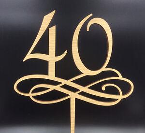 Forty 40th Birthday Cake Topper Cloud Design Oak Veneer 3 mm MDF Wood