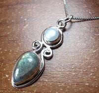Genuine Pearl and Labradorite Pendant 925 Sterling Silver Corona Sun Jewelry