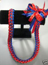 Hawaiian Braid Metalic Edge Ribbon Lei Royal and Red