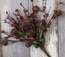 "12"" Pip Berry Stem Bunch w/Rusty Tin Bells ~ DARK ANTIQUE RED ~ Christmas"