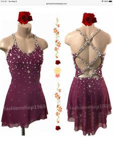 Ice Figure Skating Dress Baton Twirling Dance Dress Custom Competition xx938