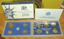 1999 MINT PROOF NINE COIN SET with CoA & Box (Soft Gold Toning on some)