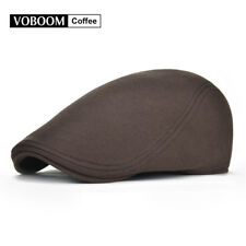 100% Cotton Coffee Men's Ivy Hat Newsboy Gatsby Cap Golf Flat Cap Cabbie Beret