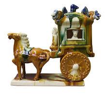 Chinese Tri-Color Ceramic Horse Cart Figure cs2387