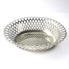 Antique SPURRIER & Co Silver Plate Coaster Bowl Oval Basket Weave 15.5cm x 13cm