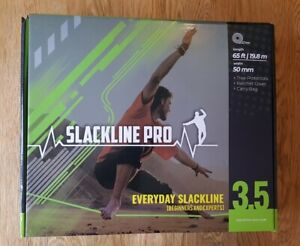 Slackline Pro 3.5 Every Day Slackline Kit 65ft Length 50mm Width Green & Black