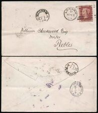 SCOTLAND 1874 RAILWAY TPO THIMBLE EDINR M STRUCK FRONT + BACK..LANARK to PEEBLES