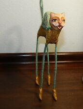 Whimsical Folk Art Girl Lady Cat High Heel Sculpture Animal Figurine Collectible