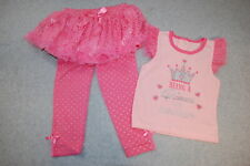 Baby Girls BEING A PRINCESS IS EXHAUSTING Pink T-Shirt, Skirted Leggings 24 MO