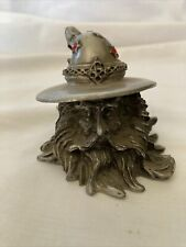 Pewter Wizard Head Hat With Red Stones!