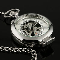 Mens Pocket Watch Mechancial Silver Case Hand-winding Skeleton Fob Chain Luxury