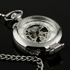 Hand-winding Skeleton Fob Chain Luxury Mens Pocket Watch Mechancial Silver Case