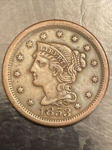 1853 Philadelphia Mint Copper Braided Hair Large Cent