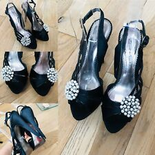 Women's DOLCIS Black Pearl Stone Slingback Shoes Size 6 Wedding Christmas Party
