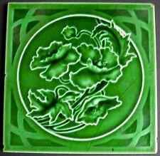 """Antique Majolica ART NOUVEAU 6"""" Tile Rd1908 by RICHARDS"""