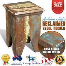 Wooden Stool Hocker Rustic Vintage Reclaimed Solid Wood Antique Style Chair Seat