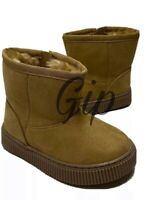 Cat & Jack Toddler Boys Arias Winter Faux Fur Lining Tan Size 9 Side Zip Boots