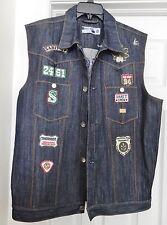 NEW SABIT NYC Men's Denim Vest Jacket Biker Patches Embellished Blue  2XL RARE