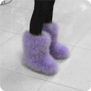 New Womens Shoes Snow Fur Furry Pull On Flat Winter Warm Mid Ankle Calf Boots