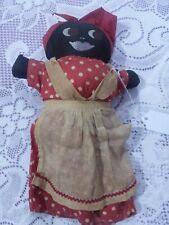 "Black Americana Rag Doll Folk Art Primitive Cotton Stuffed 10"""
