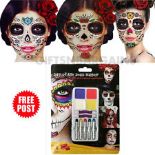 Halloween Costume Make Up Day of the Dead Kit 4 Face Paint 5 Crayons Applicator
