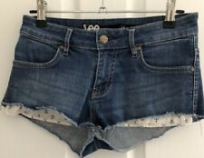 Lee Size 6 Womens Low Rise Fray Hem Exposed Pockets Denim Shorts Summer Casual
