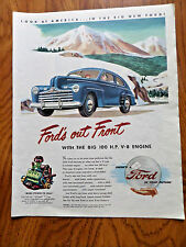 1946 Ford Ad        Out Front with the BIG 100 H.P. V-8 Engine