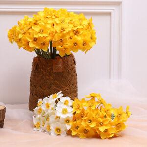 6 Head Artifical Daffodil Fake Flower Bouquet Home Wedding Birthday Party Decor