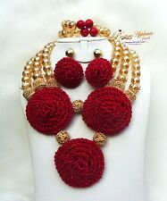 Beautiful Red Gold New Latest Design African Red Bead Bridal Wedding Jewelry Set