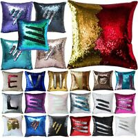 Reversible Mermaid Pillow Sequin Cover Glitter Sofa Cushion Case Double Color 24